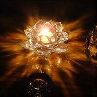 Candlestick Candle Holder Metal Wedding Glass Crystal Lotus Candlestick Candle Holder Zen Garden Metal Lantern Household