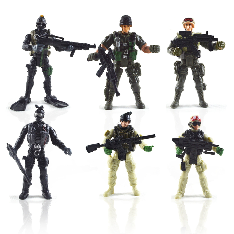 6PCS SWAT Soldier Mini Army Model Action Figure Military Soldier Model American Soldiers Toys for Boy Children Toy Gift Figures free shipping super affordable military base 310pcs set plastics toy soldier sand table model army soldier boy christmas gifts