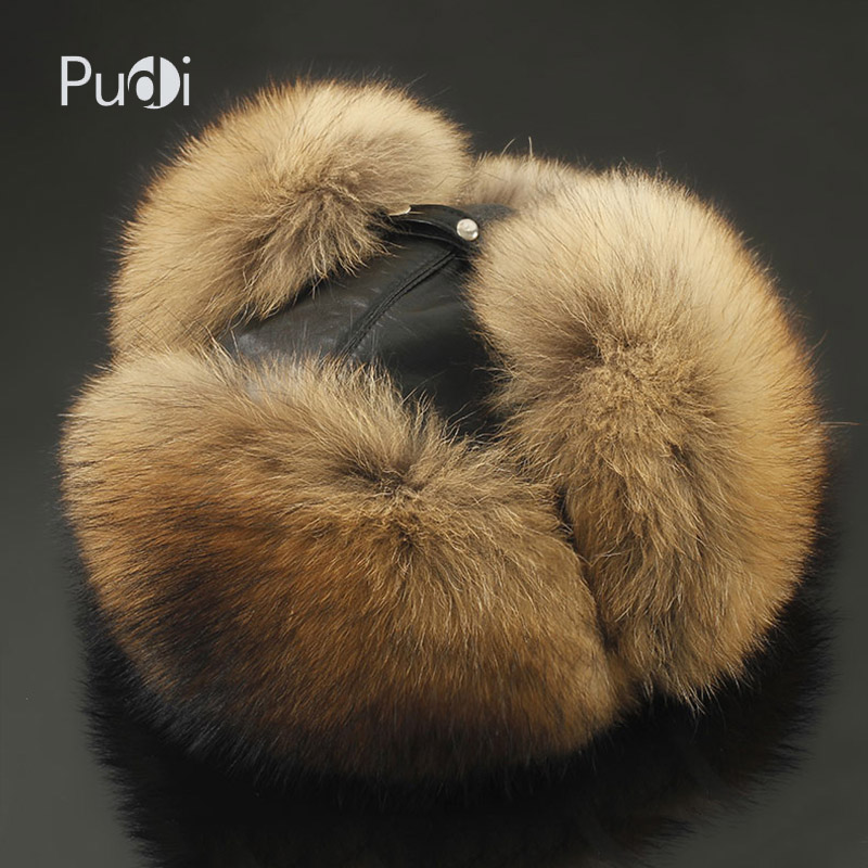 Pudi 170766 men fox fur raccoon fur and sheep skin hat Men s Fur Trapper Cap