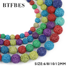 BTFBES Colourful Lava Beads Natural Stone Magma Volcanic Rock Round Loose for Jewelry Making DIY Bracelet 6/8/10/12MM Ball