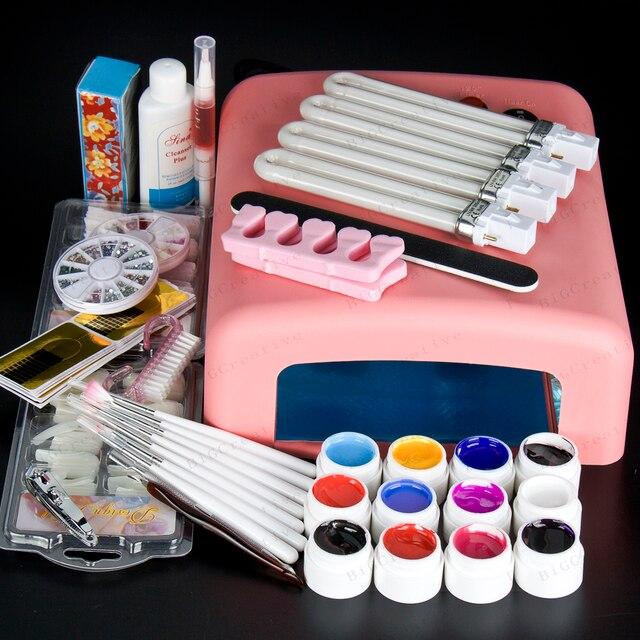 New Pro 36W UV GEL Pink Lamp & 12 Color UV Gel Nail Art Tool Kits manicure set