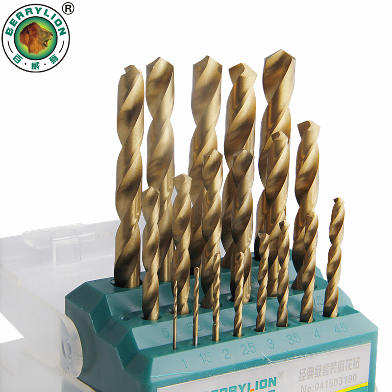 BERRYLION 19pcs Twist Drill Bit Set HSS M2 Titanium Coated 1-10mm Woodworking Metal Drill Bits For Metal Power Tool 50pcs set twist drill bit set saw set 1 1 5 2 2 5 3mm hss high steel titanium coated woodworking wood tool drilling for metal