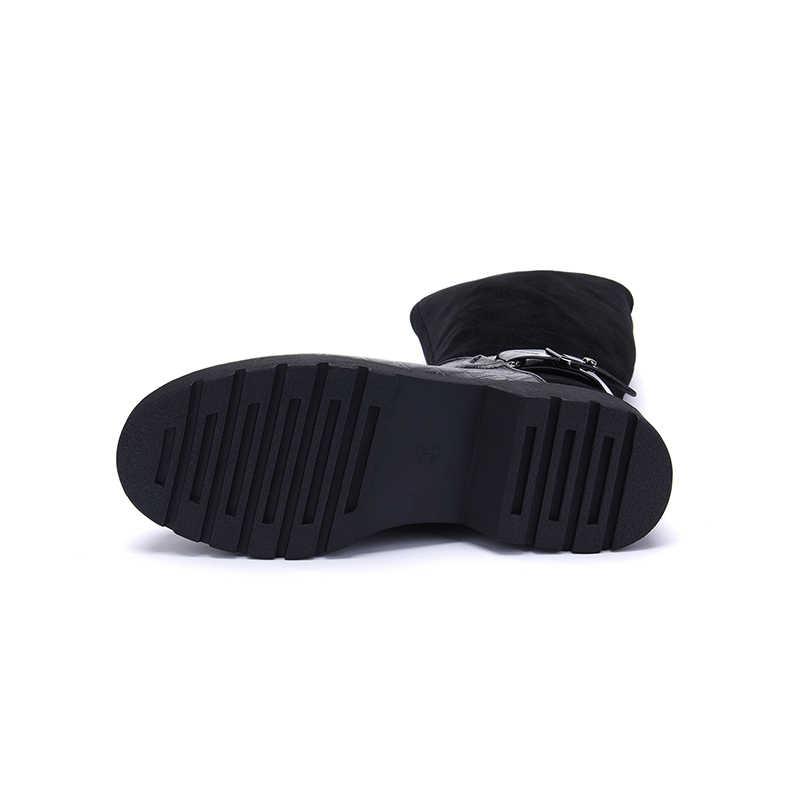 Hellenia แฟชั่นสีดำกว่าเข่ารองเท้าหนังนิ่มหนังพร้อม Warm Plush Handmade คุณภาพสูงคลาสสิกผู้หญิงรอบ Toe รองเท้า