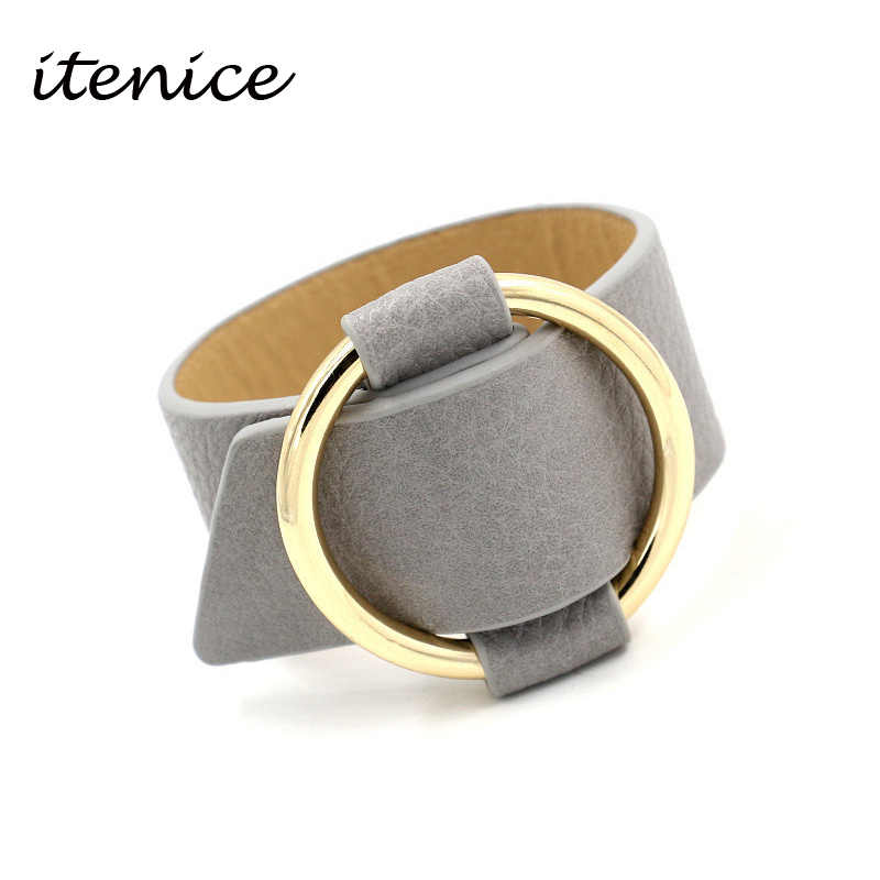 Itenice Charm Europe Big Leather Bracelet For Women Classic Alloy Round Adjustable Wide Leather Bracelet New Year Hand Jewelry