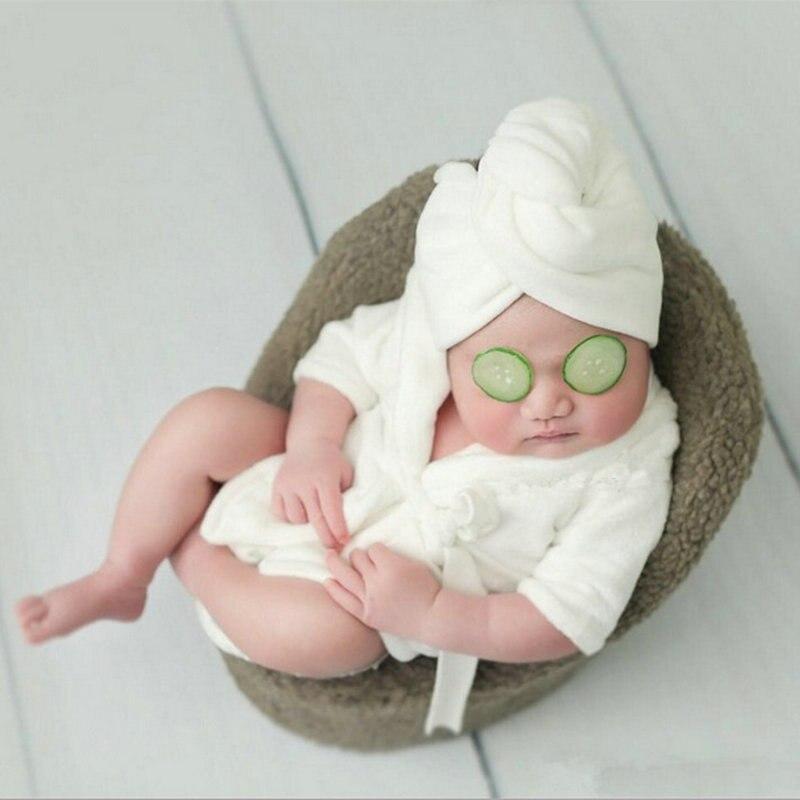 Newborn Sleepwear 2pcs/set Bath Robe+Headbands Photography Props Pyjama Baby Sleep Gown Pijamas Photo Wrap Matching Clothes