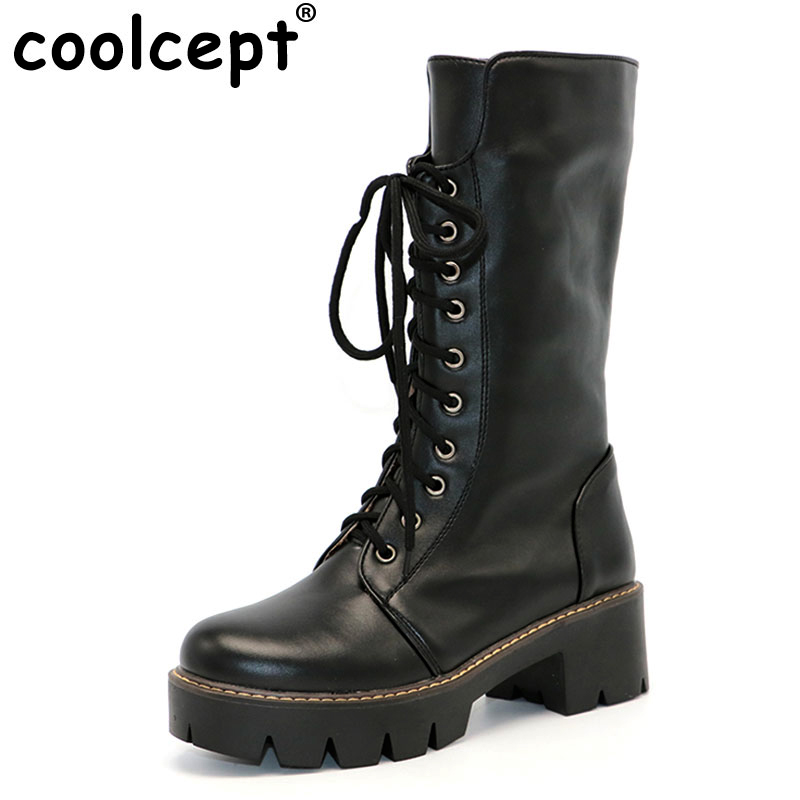 Coolcept Women Winter Boots Woman Round Toe Platform Knee Boots Ladies Winter Warm Thick Fur Martin Boot Woman Shoes Size 34-43