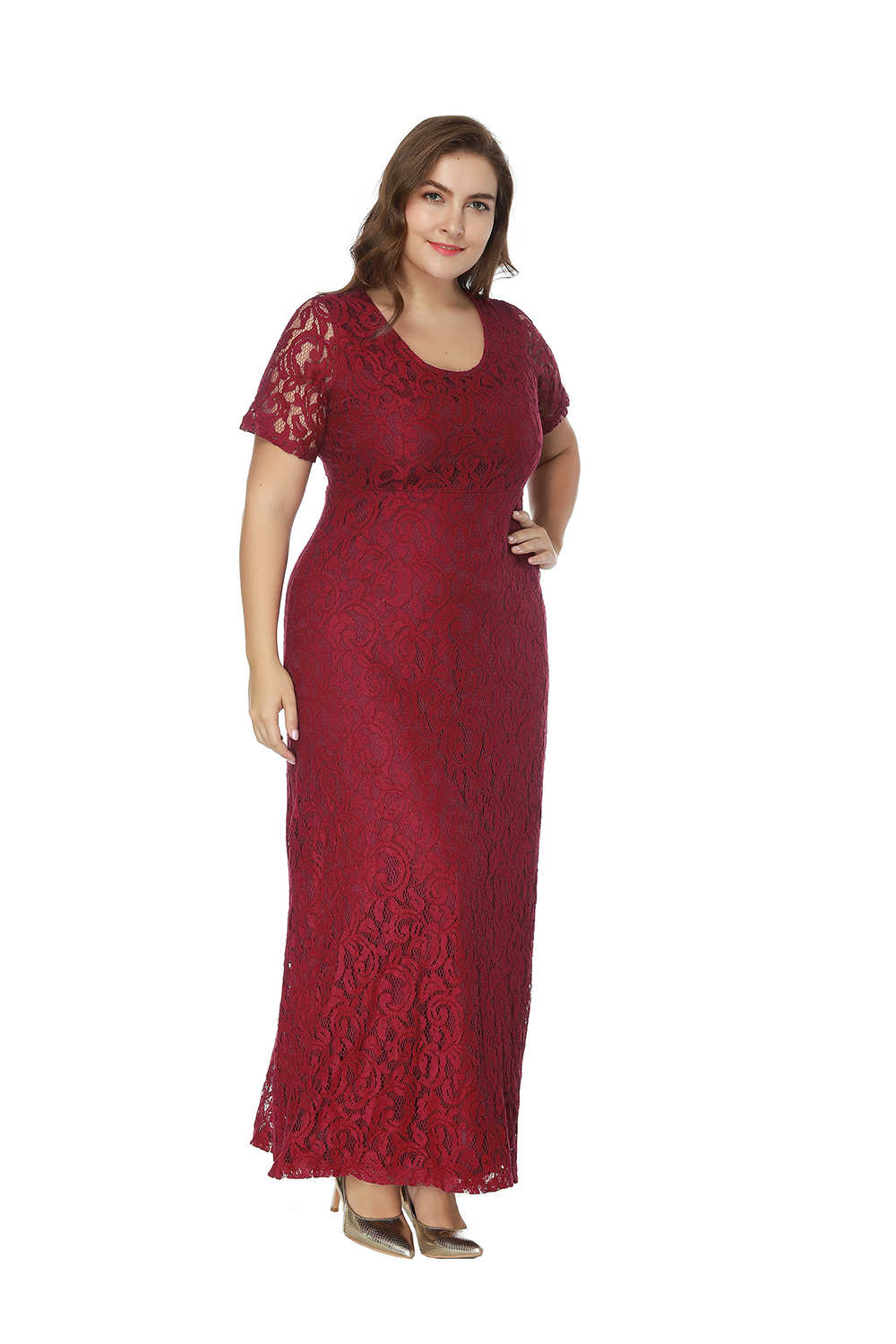 a6c74e8acb57 ... Burgundy Plus Size Bridesmaid Dresses Short Sleeve Lace Dress For  Wedding Party Cheap Long Bridesmaid Dress ...