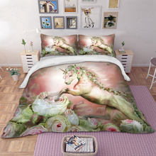 Unicorn bedding set flower Duvet cover with pillowcase Bed Set Single Twin queen king size dropshipping