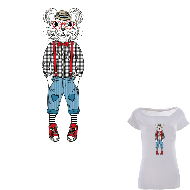 28*9cm Cool Mouse Man Iron On Patch A-level Washable T-shirt Transfer Paper Easy By Household Irons Christmas Gift