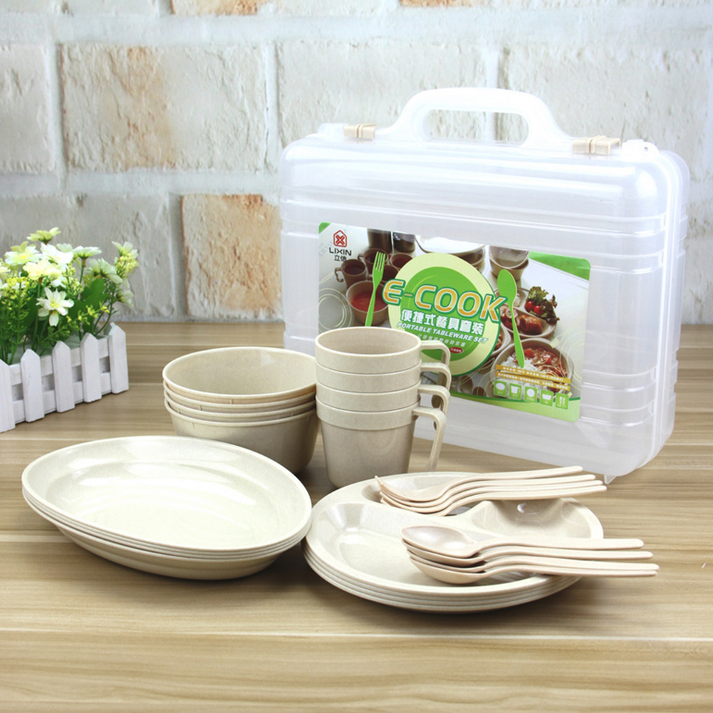 Large Plastic Picnic Camping Party Dinner Plate Mug Cutlery Set Storage Box