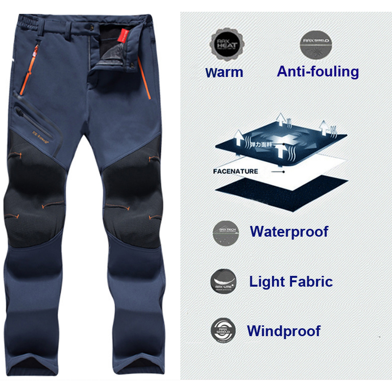 996a1f091aeb9 Men Oversized Plus size Winter Softshell Fleece Outdoor Pants Trekking Fish  Camp Climb Hiking Ski Warm Travel Trousers Free ship-in Hiking Pants from  Sports ...