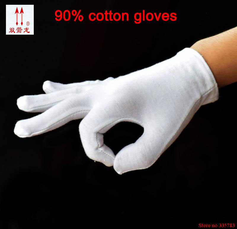 New Arrival 12 pairs/lot Anti-static Threading process Cotton White Gloves Work Gloves Safety Gloves Cotton Gloves 1 double cotton gloves white green