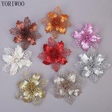 YORIWOO 3 sztuk sztuczne kwiaty boże narodzenie sztuczne kwiaty brokat choinka ozdoby świąteczne na dom nowy rok