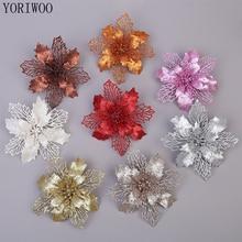 YORIWOO 3 قطعة الزهور الاصطناعية عيد الميلاد وهمية الزهور بريق عيد ميلاد سعيد شجرة الحلي زينة عيد الميلاد للمنزل السنة الجديدة