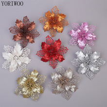 YORIWOO 3pcs Artificial Flowers Christmas Fake Flowers Glitter Merry Christmas Tree Ornaments Xmas Decorations For Home New Year