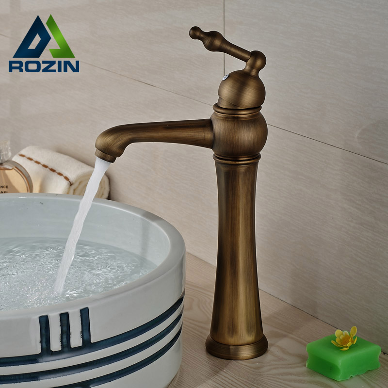 ФОТО Antique Brass Single Handle/hole Bathroom Mixer Taps Deck Mount Hot Cold Water Basin Sink Faucet