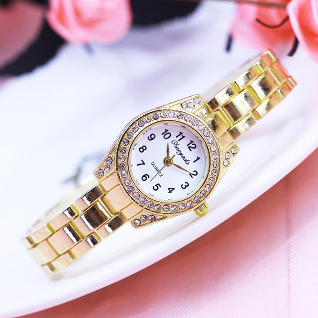 2018 summer new women girl diamond gold stainless steel quartz watches relogio f