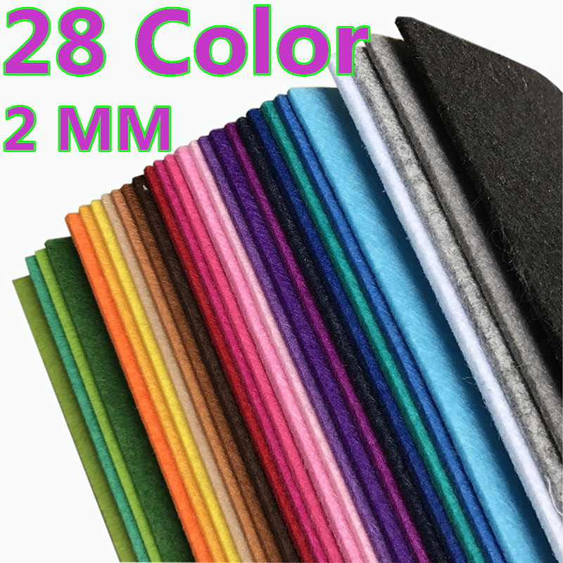 28 Color 30*30cm 2MM Thick Fabric Felt Non Woven Polyester Cloth Multi Color Felt For DIY Dolls Sewing Crafts Home Decoration