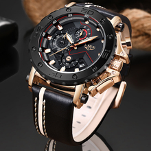 2019LIGE New Fashion Mens Watches Top Brand Luxury Big Dial Military Quartz Watch Leather Waterproof Sport Chronograph Watch Men north brand casual watch men led light genuine leather big dial dual time unique quartz military sport men s watch waterproof