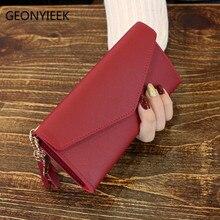 Брендовый кожаный женский кошелек, высокое качество, дизайн, на застежке, сплошной цвет, сумки для карт, длинный женский кошелек, 5 цветов, Женский кошелек Billetera