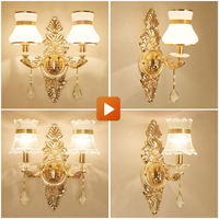 YOK 28*42cm LED Wall Lamp European Crystal Luxury Wall Lamp Lotus Golden Double Lights Wall Lamp