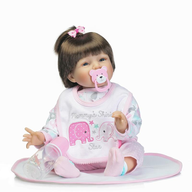 55cm Soft Body Silicone Reborn Baby Doll Toy For Girls NewBorn Girl Baby Birthday Gift To Child Bedtime Early Education Toy цена