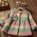 Moda Outono Inverno Quente Do Bebê Meninas Crianças Crianças Plaided Flor Lã Blended Cardigan Casacos Casacos Casacos das Crianças S4392