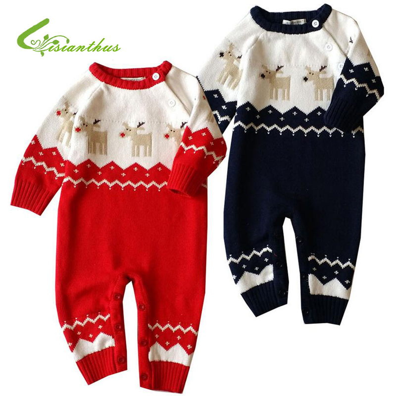 Baby Rompers Winter Thick Climbing Clothes Newborn Boys Girls Warm Romper Knitted Sweater Christmas Deer Cute Print  Outwear 2017 baby rompers winter thick climbing clothes newborn boys girls warm romper knitted sweater christmas deer hooded outwear