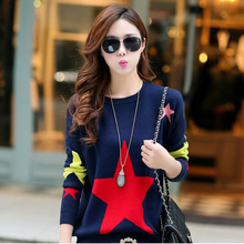 2017 winter Women's Clothing Korean leisure sweater loose stars long sleeve Pullover Sweater jumper pull femme Ladies' plus size