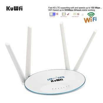 KuWfi 4G LTE CPE Router 300 Mbps Wireless Router 3G/4G LTE wifi Router con Sim ranura para tarjeta y antena externa de 4 piezas 32 usuarios