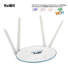 лучшая цена KuWfi 4G LTE CPE Router 300Mbps Wireless Router 3G/4G LTE wifi Router With Sim Card Slot&4Pcs External Antenna 32Users
