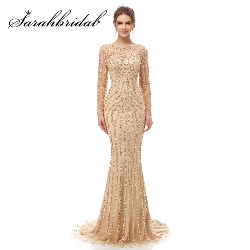 Intricate Long Sleeves Evening Dress 2019 O-neck Illusion  Zipper Elegant Mermaid Beading Sequined With Train Prom Gown CC5405
