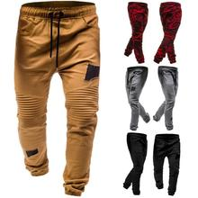 Europe and the United States 2019 foreign trade new pleated rag stitching casual pants tether elastic men's casual pants