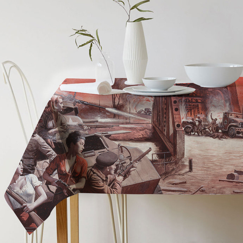 Mort Kunstler Painting Art war Tablecloth for table Linen Decorative table cloth Dining Table Cover For Kitchen Home Decor