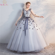 Gray Prom Dresses 3D Flowers Elegant Flowing Sleeves Ball Gown Evening Floor Length Tulle Lace-up Back For Formal Party