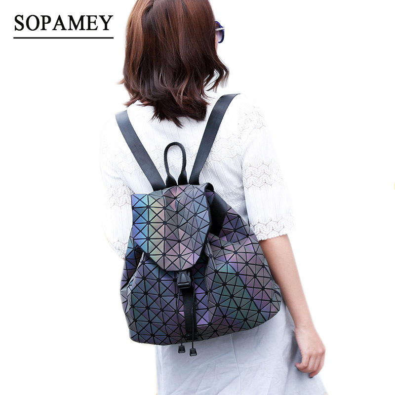 SOPAMEY New BaoBao Luminous Backpacks Female Fashion Girl Daily Backpack Geometry Package Sequins Folding Student s
