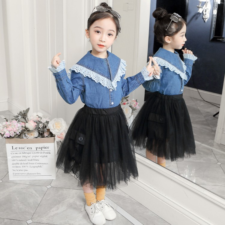Fashion Childrens Wear Girls Wash Jeans Shirts + Cake Waist Skirt Two - Piece Sets Kids Denim Long Sleeve Blouse Skirts SuitFashion Childrens Wear Girls Wash Jeans Shirts + Cake Waist Skirt Two - Piece Sets Kids Denim Long Sleeve Blouse Skirts Suit