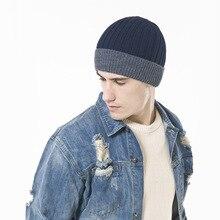 2c653a144ebfc Espessamento Quente Chapéu Da Forma Chapéus para Os Homens de Inverno Ao Ar  Livre Gorro de Lã Tampão Feito Malha Dos Homens da M..