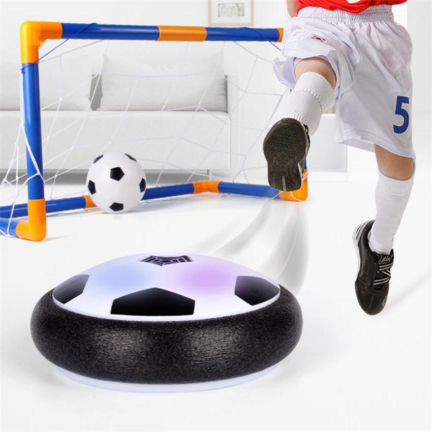 2018 Hot Speelgoed Led Licht Knipperende Air Power Voetbal Disc Indoor Opgeschort Voetbal Zweven Zweefvliegen Speelgoed Quell Summer Thirst