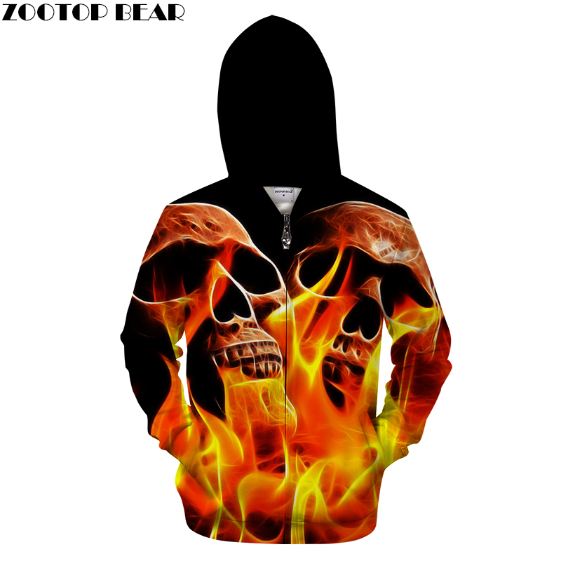 Burning Skull Men Zipper Hoodie Zombie Style Funny Man Women Zip Jacket Winter Man Pullover Skull 3D Printed Hoodie Sweatshirts
