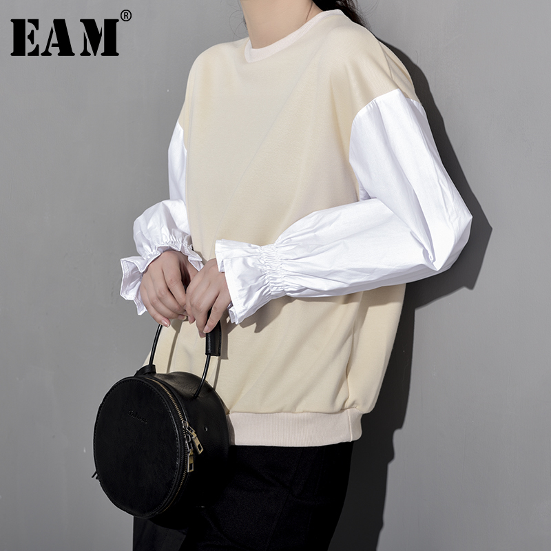 [EAM] 2020 New Spring Summer Round Neck Long Lantern Sleeve Hit Color Loose Temperament Sweatshirt Women Fashion Tide YF0081