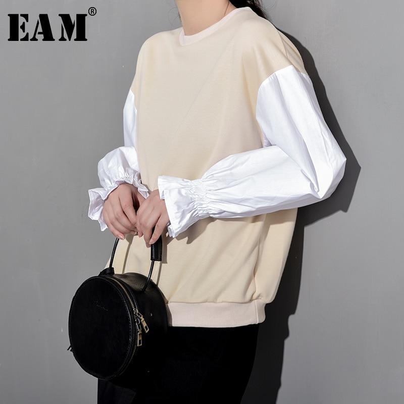 [EAM] 2020 New Spring Summer Round Neck Long Lantern Sleeve Hit Color Loose Temperament Sweatshirt Women Fashion Tide YF0081