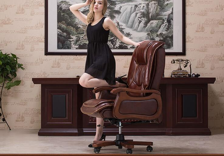 Boss chair leather computer chair home massage reclining leather executive chair solid wood armrest office chair.