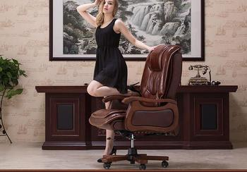 Boss chair leather computer chair home massage reclining leather executive chair solid wood armrest office chair. replica fritz hansen swan chair leather