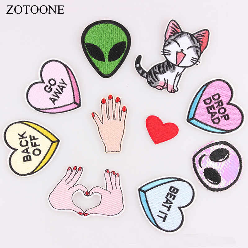 ZOTOONE 1PC Finger Parches Embroidered Iron On Patches For Clothing DIY Stripes Alien Clothes Stickers Custom DIY Heart Badges C