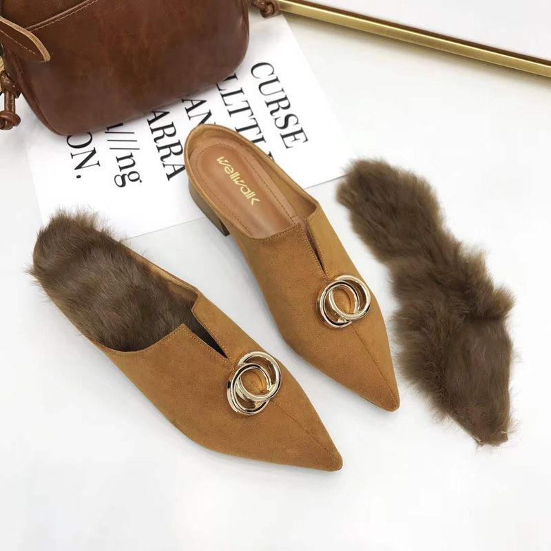 3988cb381 Autumn Shoes Women Fur Slippers Pointed Toe Mules Ladies Sliders ...