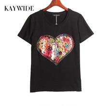 Kaywide лето горячая футболка женщины блестками любовь сердца блестки майка женщины топы футболка femme мода вскользь женщина clothing(China (Mainland))