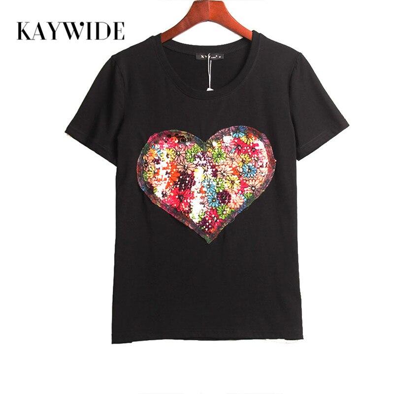 KAYWIDE Summer Hot T Shirt Women Sequined Love Heart Sequins T Shirt Women Tops Tee Shirt