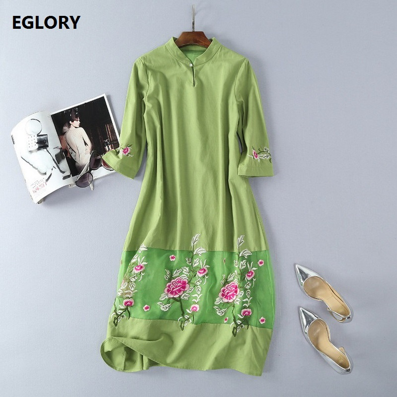 2018 Vintage brand Spring Summer Women Straight Loose Dress Orange Embroidery Vestidos Green Black Retro Cotton