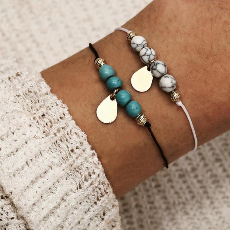 Bracelets & Bangles Strand Bracelets Confident 2019 New Handmade Green White Stone Beaded Bracelet Sets For Women Boho Bracelets Jewelry Bijoux Gift 5b307